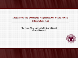 public information - The Texas A&M University System