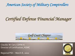 What is the CDFM? - Gulf Coast ASMC Home Page