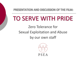 Sexual Abuse - PSEA Task Force