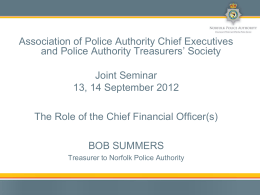 The Role of the Chief Finance Officer(s)
