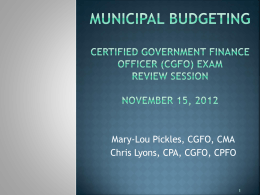 Budget process - Florida Government Finance Officers Association