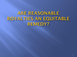 Reasonable Royalties Are An Equitable Remedy