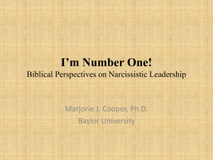 Biblical Perspectives on Narcissistic Leadership