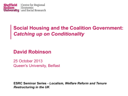 David Robinson - The Big Society, Localism & Housing Policy