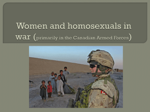 Women and homosexuals in war (primarily in the Canadian Armed