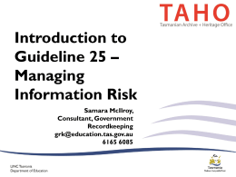 Introduction to Guideline 25 on Managing Information Risk