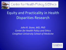 Equity and Practicality in Health Disparities Research