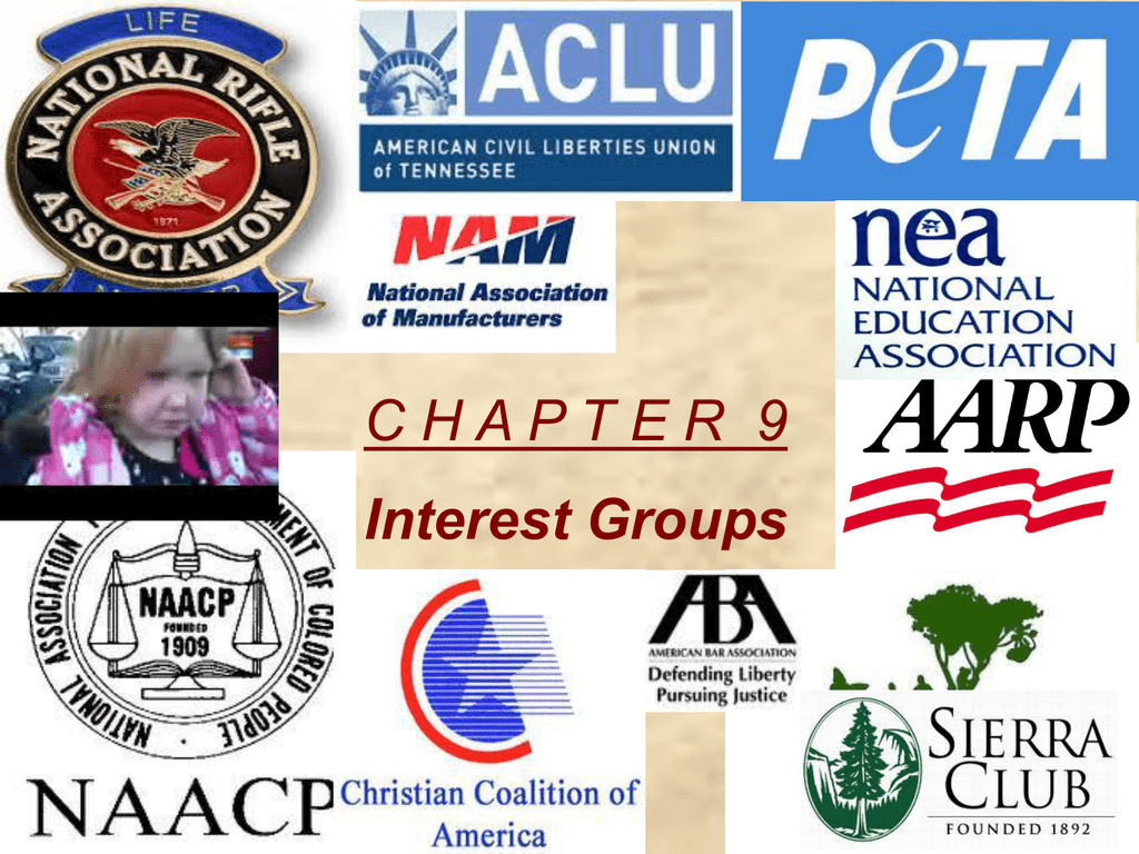 Collage of a few examples of interest groups.