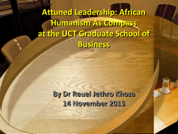 UCT Graduate School of Business - 14 November 2013