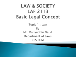 What is law? - LAF 2113 : Law and Society