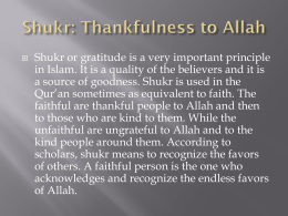 Shukr thankfulness to Allah grade 12