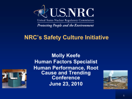 Keefe- NRC Safety Culture