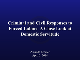 Criminal and Civil Responses to Forced Labor