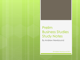 Prelim Business Studies Study Notes
