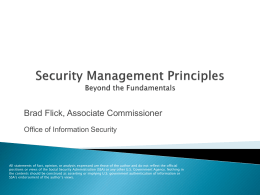 Security Management Principles - ISSA Baltimore Information
