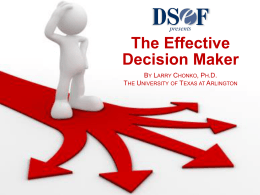 The Effective Decision Maker presents The Effective Decision Maker