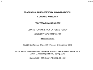european integration - Centre for the Study of Public Policy