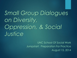 Small Group Dialogues on Oppression, Diversity, and Social Justice