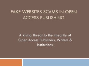 Fake Websites Scams in Open Access Publishing.
