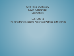 PP 14 First Party System 1790s