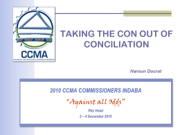 Taking the con out of conciliation - Haroun Docrat