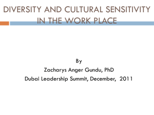 DIVERSITY AND CULTURAL SENSITIVITY by Dr. Zacharys Anger