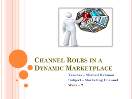 Channel Roles in a Dynamic Marketplace