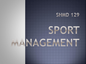 Week 1 - Sport management