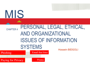 4. Personal, Legal, Ethical, and Organizational Issues of Information