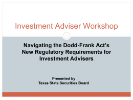 Investment Adviser Workshop - Texas State Securities Board