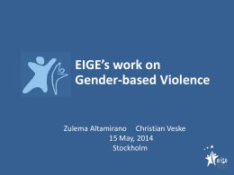 EIGE`s work on Gender-based Violence