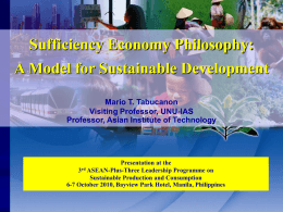 Sustainable Development and the Sufficiency Economy: Role