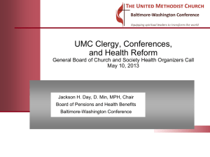 UMC Clergy, Conferences and Health Reform