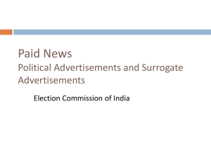 PPT Presentation on Paid News - Chief Electoral Officer, Delhi