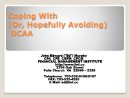 Coping With (Or, Hopefully Avoiding) DCAA