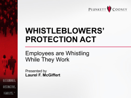 WHISTLEBLOWERS` PROTECTION ACT EMPLOYEES ARE