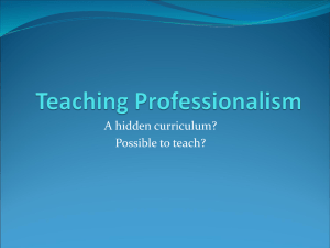 Teaching Professionalism - UBC Department of Family Practice