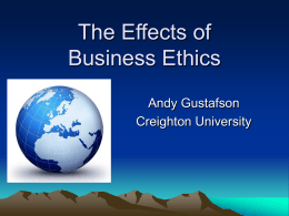 Effects of Business Ethics