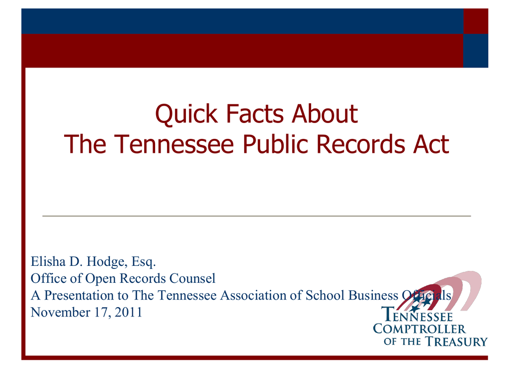 Complying with the Tennessee Public Records Act