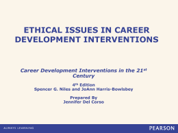ETHICAL ISSUES IN CAREER DEVELOPMENT