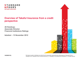 Overview of Takaful Insurance from a credit perspective Ali