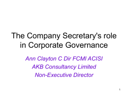 The Company Secretary`s role in Corporate Governance