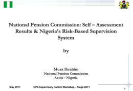 National Pension Commission Self-assessment results and