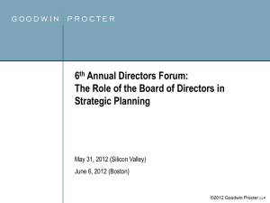 6th Annual Directors Forum: The Role of the Board of Directors in