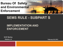 SEMS FINAL RULE - SUBPART S Review & Solutions