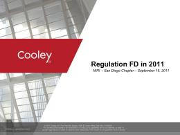 "Cooley LLP, ""Reg. FD in 2011,"" - National Investor Relations Institute"
