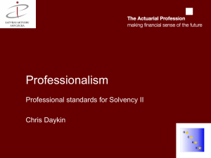 Professional standards for Solvency II