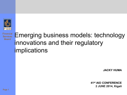 Emerging business models - African Insurance Organisation