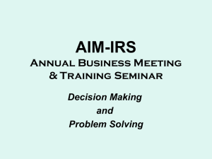 Decision Making & Problem Solving - AIM-IRS
