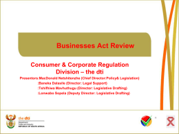 Presentation Licensing of Businesses Bill 2013